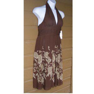 new! ADRIANNA PAPELL Dress, 12 Halter, Silk Floral